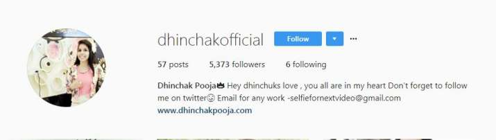 India Tv - Dhinchak Pooja's Instagram bio