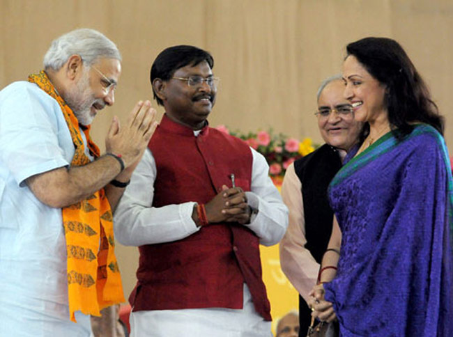PM Modi with BJP MP Hema Malini and ex CM of Jharkhand,