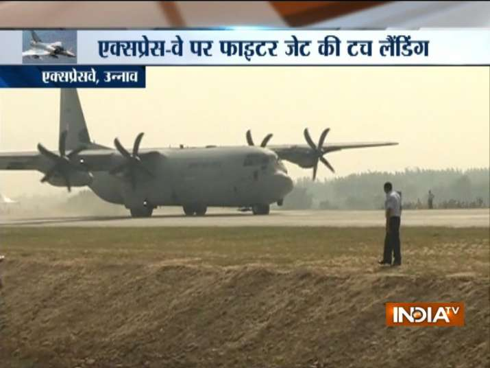 India Tv - The IAF conducted the aircraft touchdown exercise on the expressway near Bangarmau in Unnao district