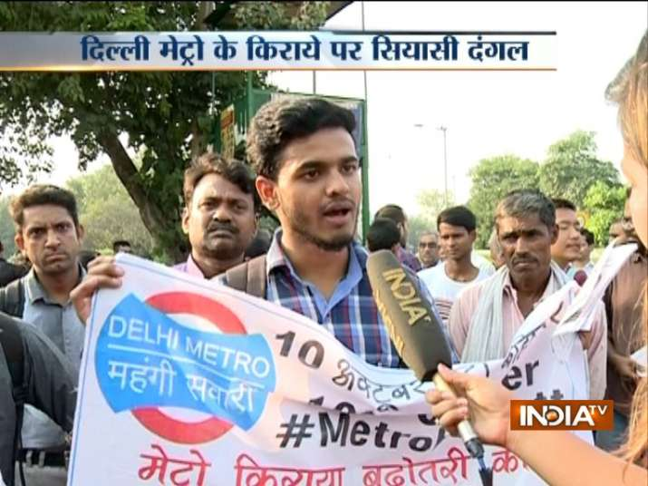 Delhi Metro fare hike Angry commuters stage protest