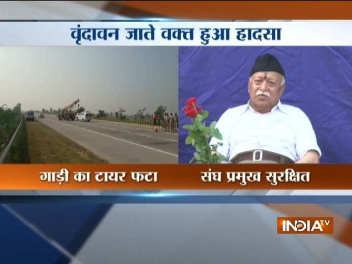 @RSSorg Chief Mohan Bhagwat escapes major accident on Yamuna Expressway in Mathura