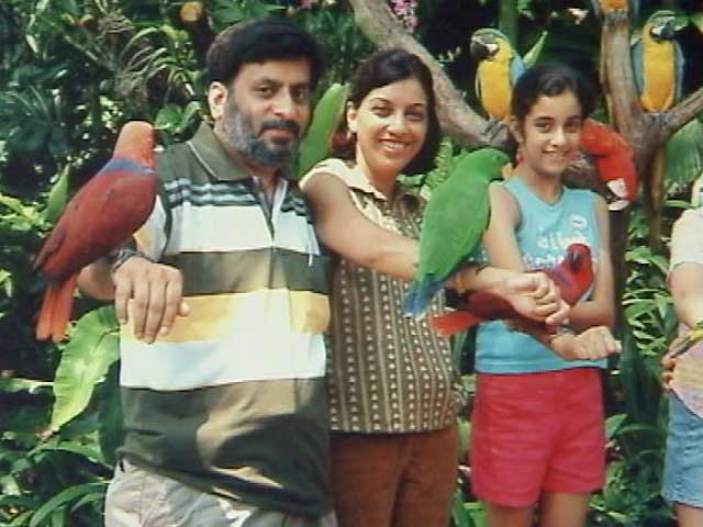 Rajesh and Nupur Talwar with their daughter Aarushi.
