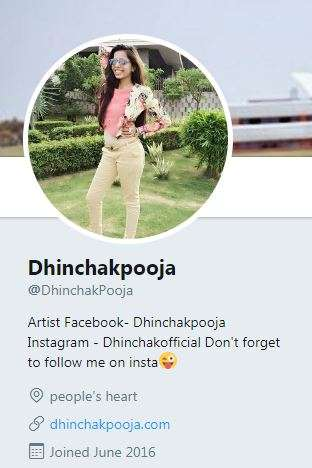 India Tv - Dhinchak Pooja's Twitter bio