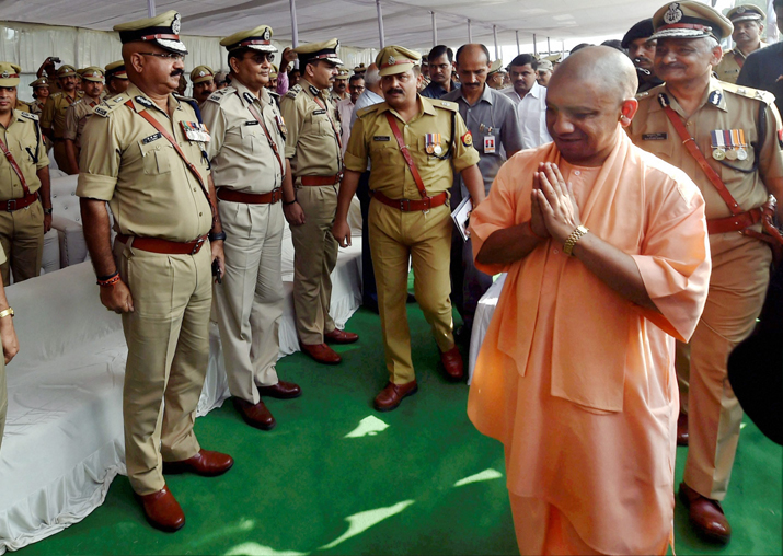 CM Adityanath greets officers and jawans on Police