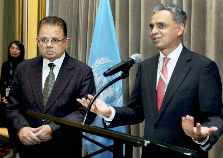 Syed Akbaruddin speaks during a reception in the honour of