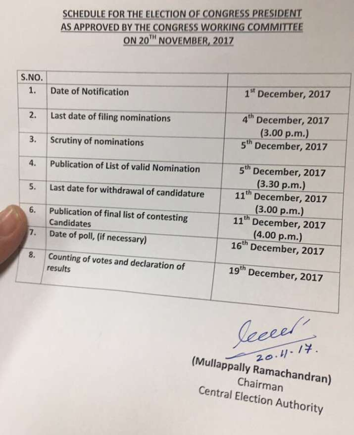India Tv - Schedule for the Election of Congress President as approved by the Congress Working Committee