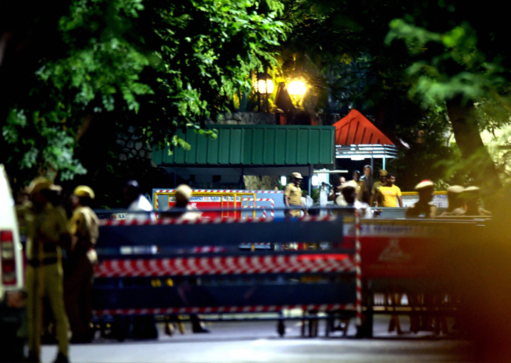 Security persons at out side Jayalalithaa's residence at