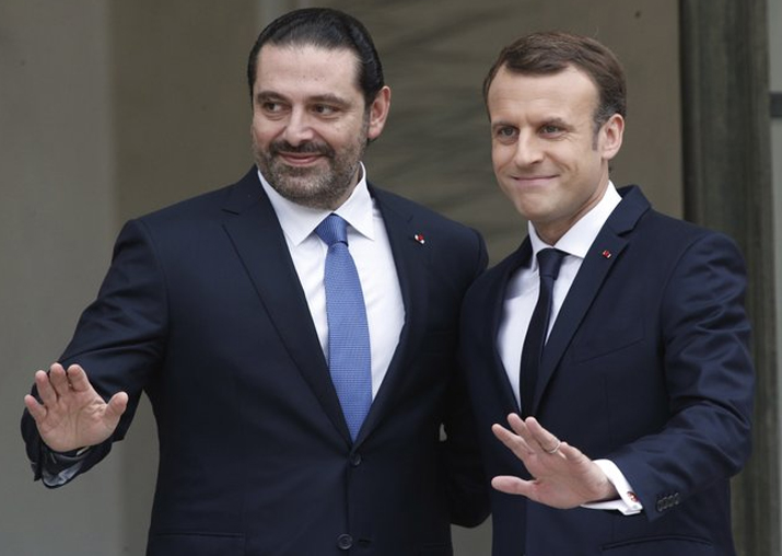 Emmanuel Macron with Lebanon's PM Saad Hariri at the
