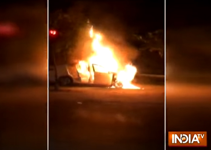 Watch video: Parked car bursts into flames in Noida