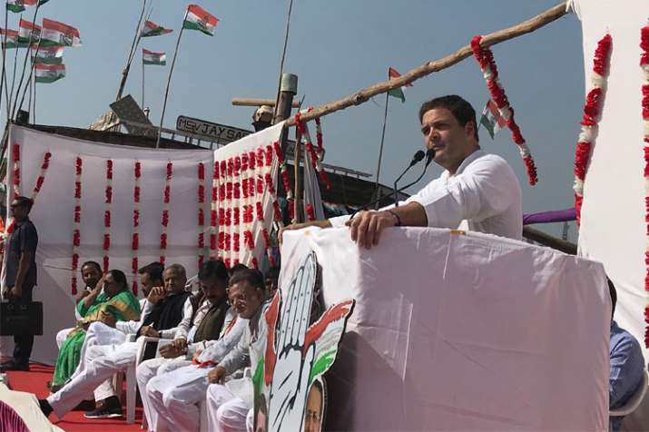 Congress vice president Rahul Gandhi addressing the