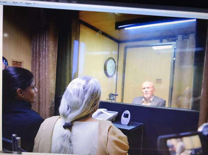 Kulbhushan Jadhav meets wife mother from behind glass