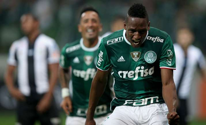 Barcelona snap up Colombian defender Yerry Mina from Palmeiras for £10.5m