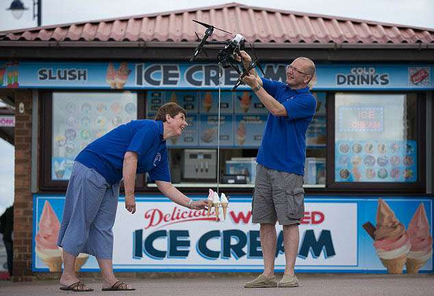 India Tv - Ice cream drone tested at the beach