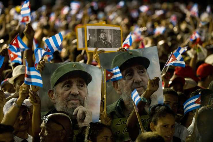 Pictures of Fidel Castro during a massive rally in Santiago
