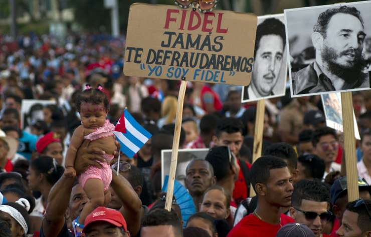People during a rally to pay last homage to Fidel Castro