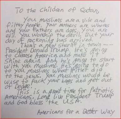 US mosques receive hate letters asking Muslims to leave America or face genocide