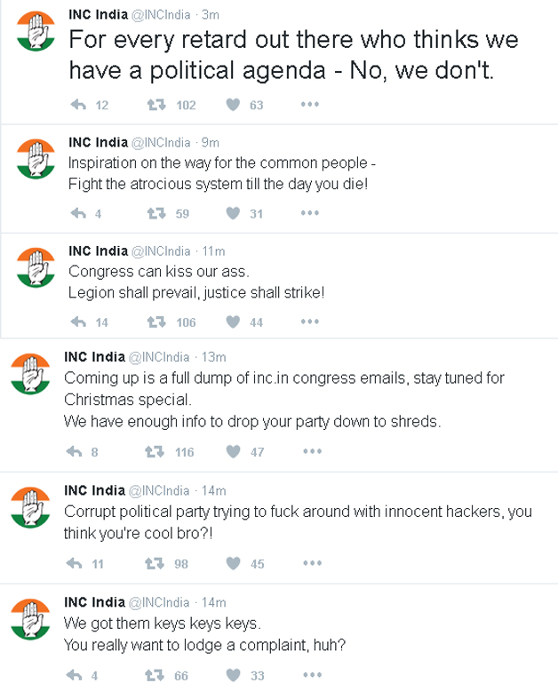 Screenshot of tweets posted on Congress party's timeline