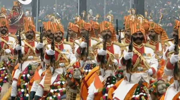 BSF's camel mounted contingent at Rajpath