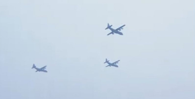 3 C-130 super Hercules fly-past giving aerial salute to President, Chief Guest