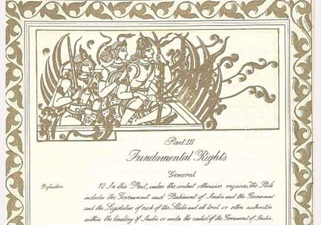 Original manuscript of Indian Constitution had pictures of Hindu gods and gurus