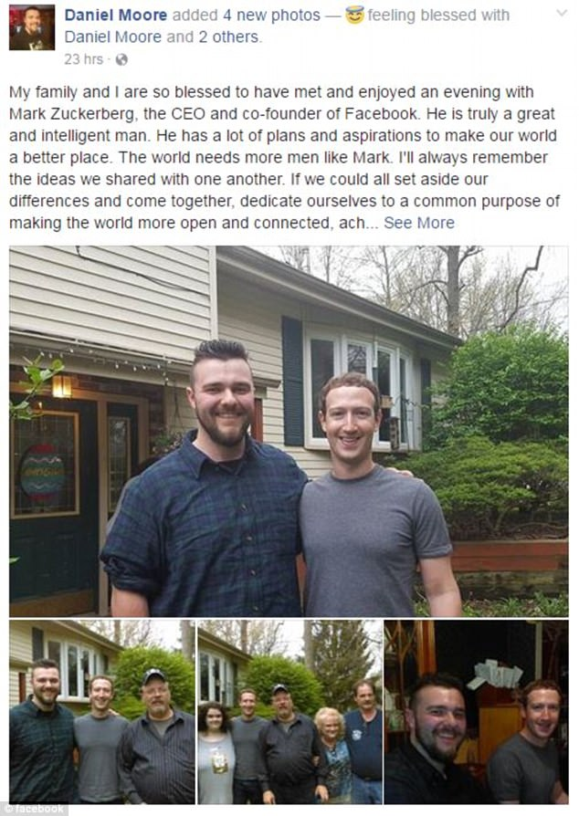 Daniel Moore shared the pictures on his Facebook account