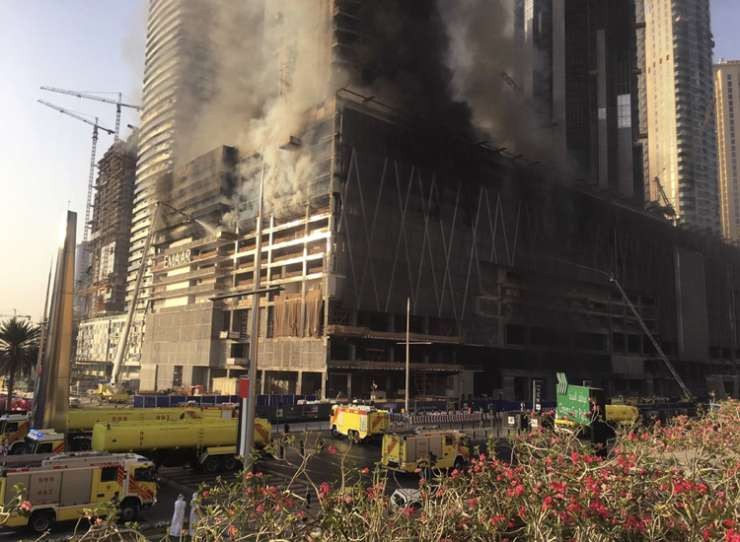 India Tv - Fire at the under-construction Fountain Views tower next to Dubai Mall