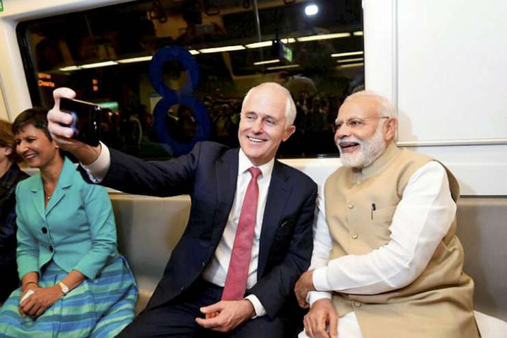 India Tv - Turnbull takes selfie with Modi while travelling in Metro