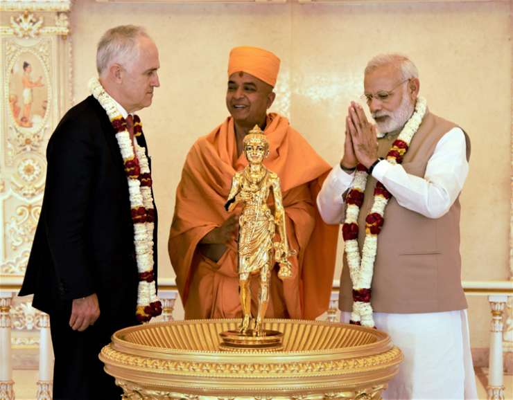 India Tv - Modi and Turnbull at the Akshardham Temple on Monday