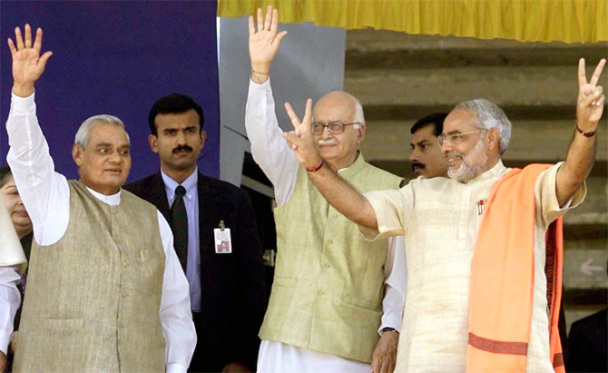 File pic of Atal Bihari Vajpayee, LK Advani and Narendra Modi