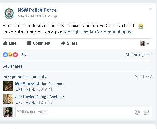 NSW Police ed sheeran fans