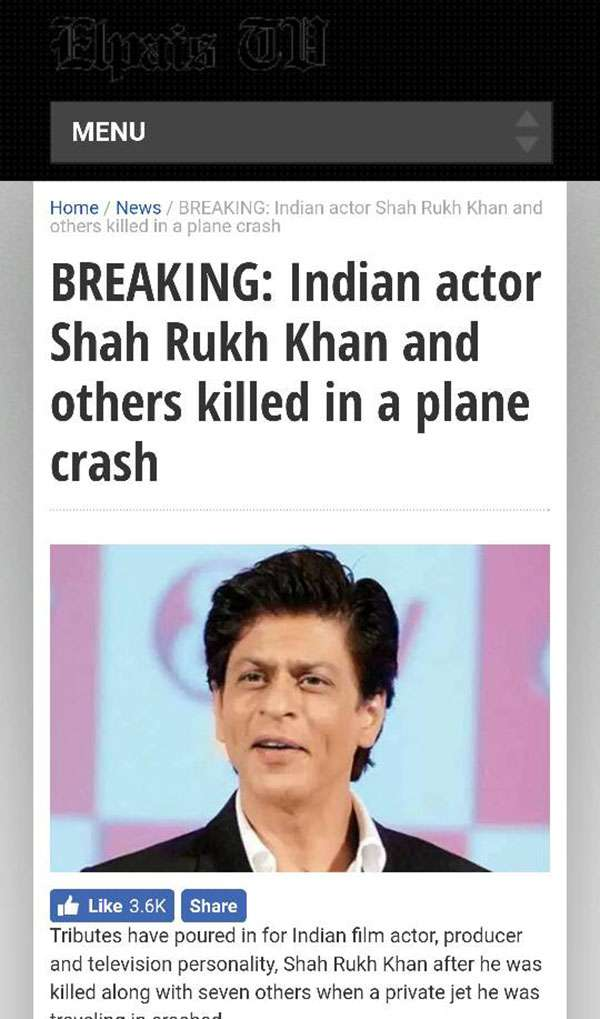 India Tv - Shah rukh khan fake death news