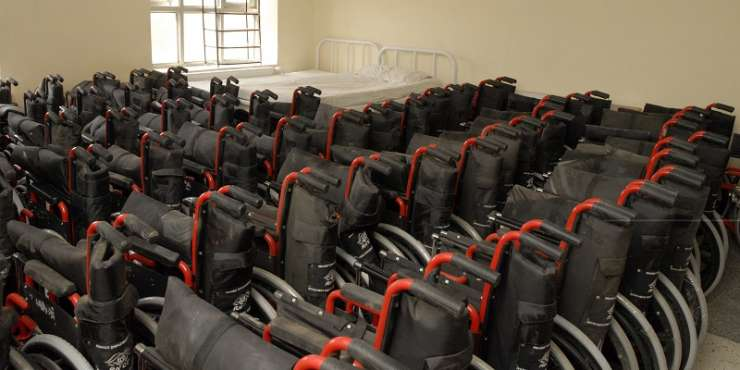 India Tv - Several equipments like wheelchairs, calipers, etc were donated