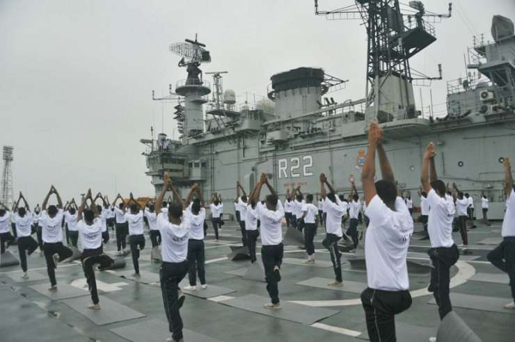 Indian Navy Officers celebrating Yoga Day on INS Viraat