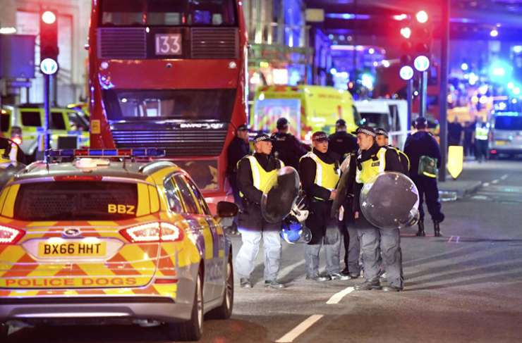 Police near London Bridge after terror attacks in UK Capital