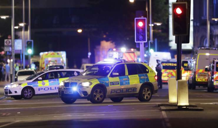 Police cars in the area of London Bridge after terror attacks