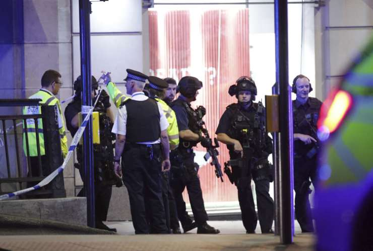 Armed police outside Monument station after terror incidents in London