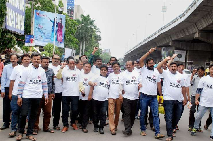 India Tv - Textile traders protest against the GST during strike in Surat on Tue