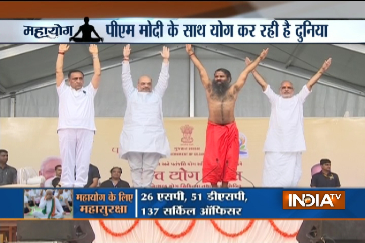 Vijay Rupani, Amit Shah and Baba Ramdev in a Yoga camp in Ahmedabad