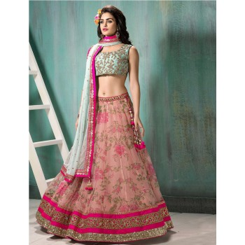 Floral print lehenga can add charm to your personality.
