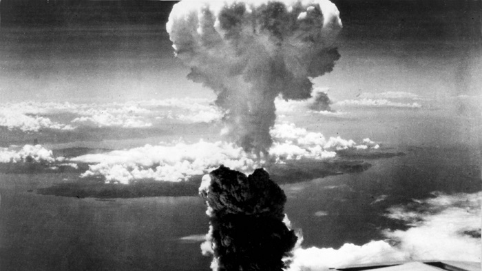 The mushroom cloud after bombing on Nagasaki