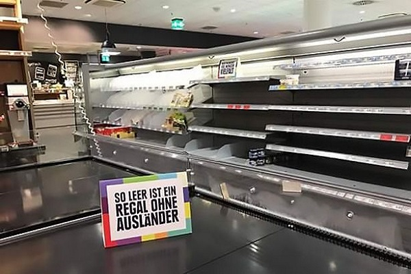 German supermarket removes foreign items from shelves