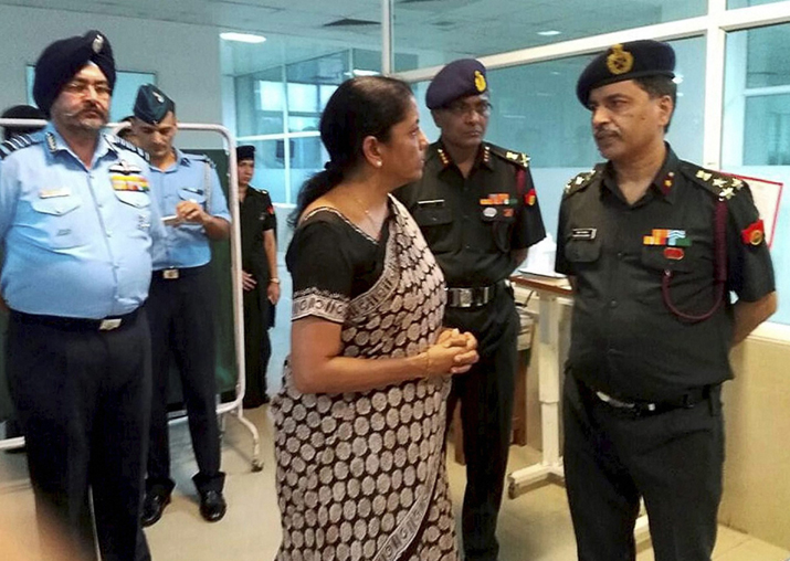 Nirmala Sitharaman at the R & R Hospital in New Delhi