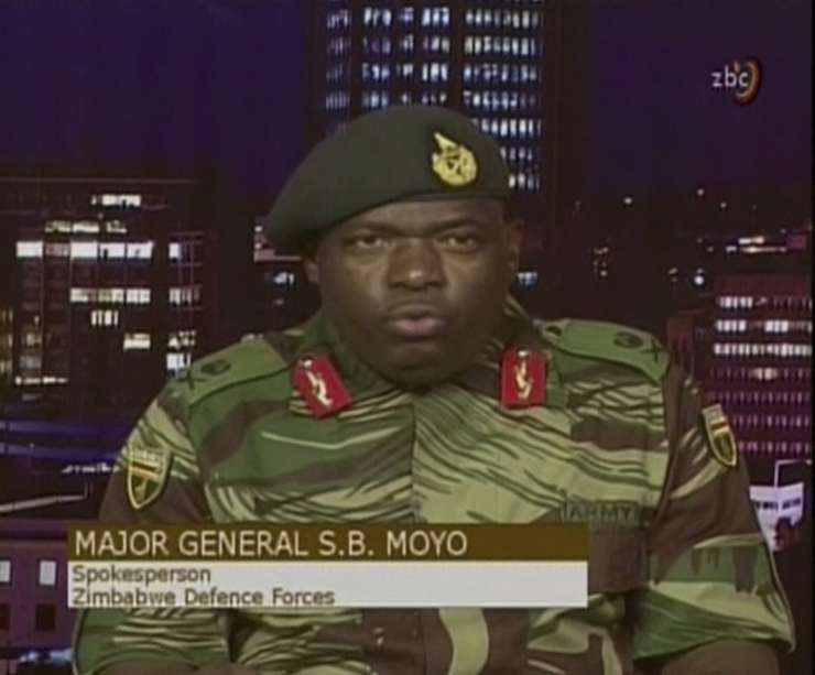 Major Gen. S.B. Moyo, Spokesperson for the Zimbabwe Defense Forces addresses the nation in Harare, Zimbabwe on Wednesday.