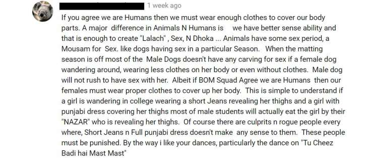 The comments crossed all the limits of sexual objectification and shamelessness