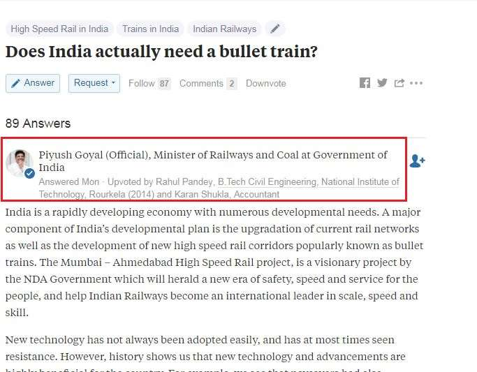 'Does India actually need a bullet train? Railway Minister Piyush Goyal answers the question on Quora!