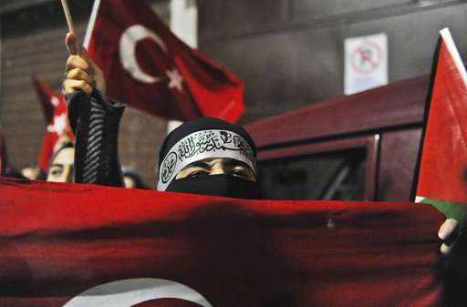 A protester participates in a demonstration near the U.S. Consulate in Istanbul.