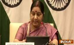 Sushma Swaraj addresses media in New Delhi on Tuesday