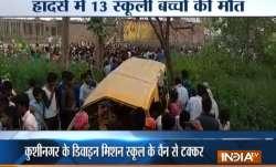 The driver of the school van reportedly had earphones on