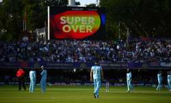 The scoreboard shows the Super Over sign at the end of the