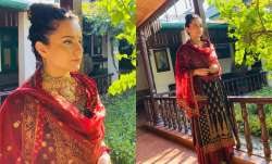 Kangana Ranaut goes desi as she attends cousin brother's engagement ceremony in Himachal